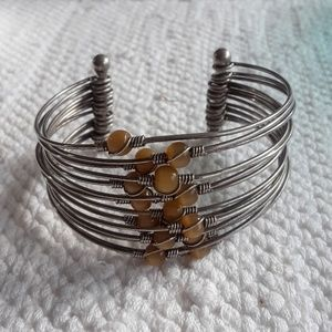 Jewelry - Vintage Wire Beaded Bracelet Tigers Eye Stones